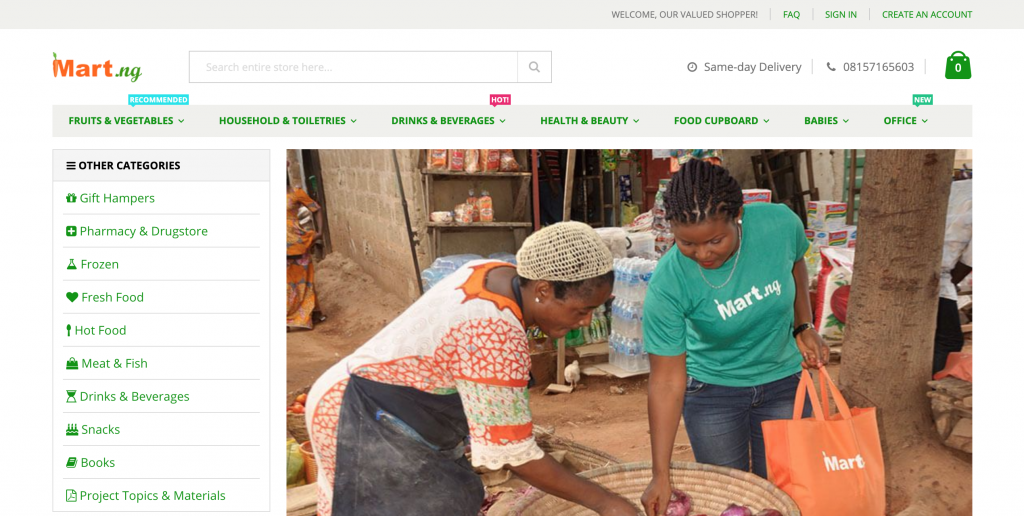 grocery shop online and pick up from mart.ng